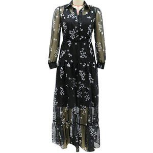 Black/White Floral Sheer Maxi Dress XL (L)